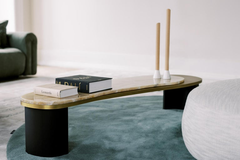 Contemporary Armona Coffee Table Black Lacquered Calacatta Bianco Polished Stainless Steel For Sale