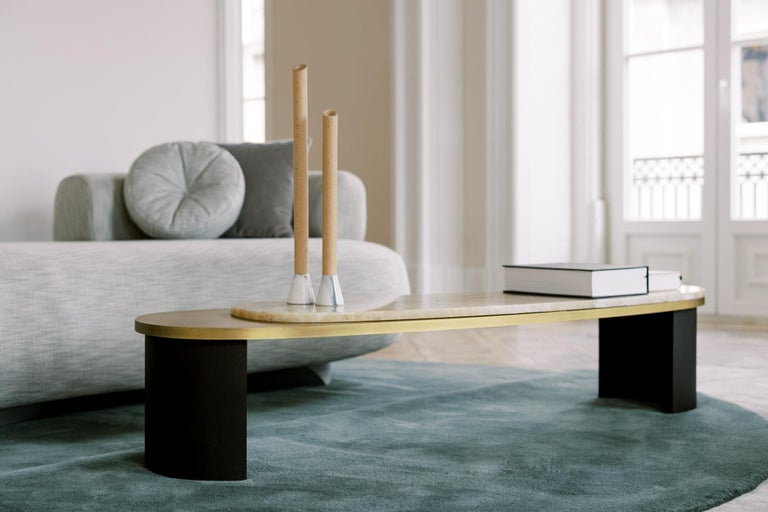 Brass Armona Coffee Table Black Lacquered Calacatta Bianco Polished Stainless Steel For Sale