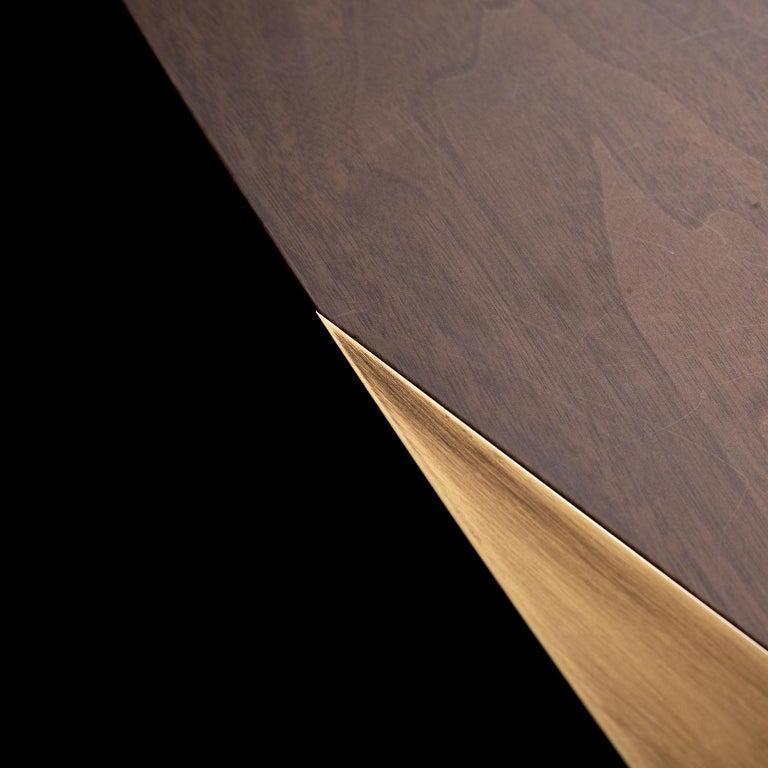 Armona Desk Matt Walnut Polished Onyx Champagne Lacquered Dark Oxidized Brass For Sale 3