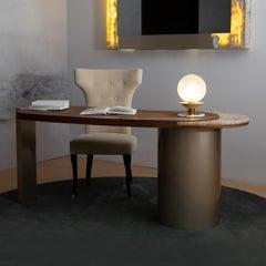 Armona Desk Matt Walnut Polished Onyx Champagne Lacquered Dark Oxidized Brass
