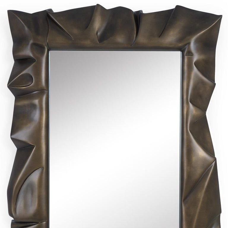 Mirror Armor bronzage with hand carved solid mahogany wood frame, handcrafted with bronzage finish. With mirror glass with polished edges. Also available in tobacco finish, or black satin, or white satin finish, or gold leaf finish. Available in: L