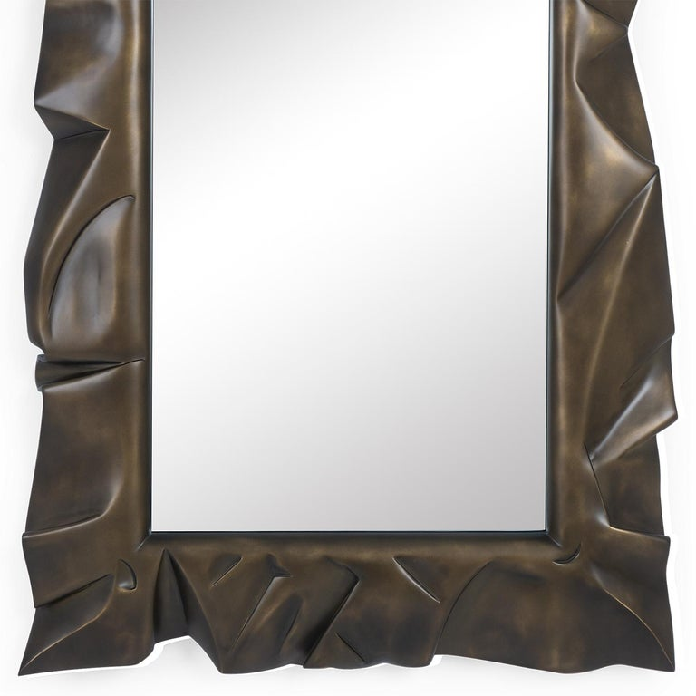 English Armor Bronzage Mirror in Solid Mahogany Wood For Sale