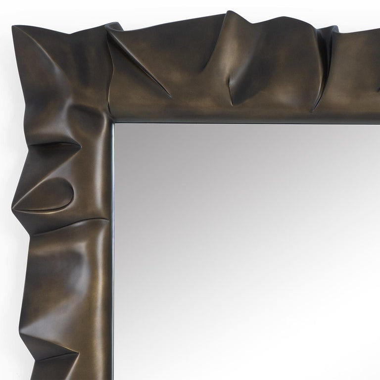 Hand-Carved Armor Bronzage Mirror in Solid Mahogany Wood For Sale