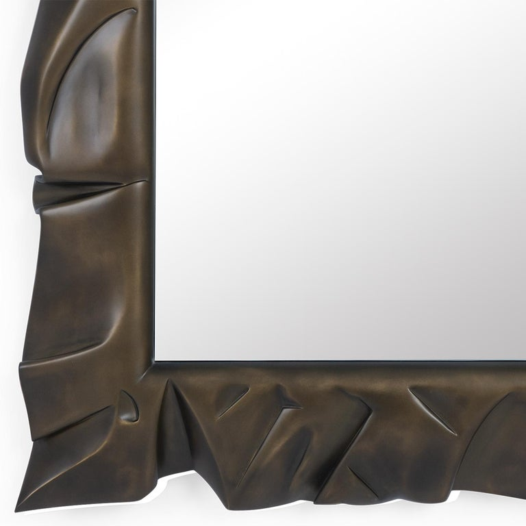 Contemporary Armor Bronzage Mirror in Solid Mahogany Wood For Sale