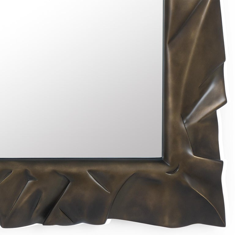 Armor Bronzage Mirror in Solid Mahogany Wood For Sale 1