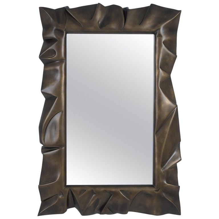 Armor Bronzage Mirror in Solid Mahogany Wood For Sale