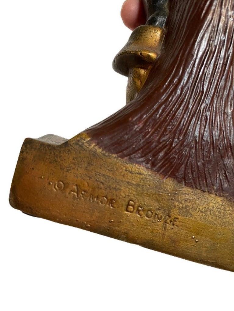 Artv Deco Era Buccaneer Bookends by Armor Bronze For Sale 3