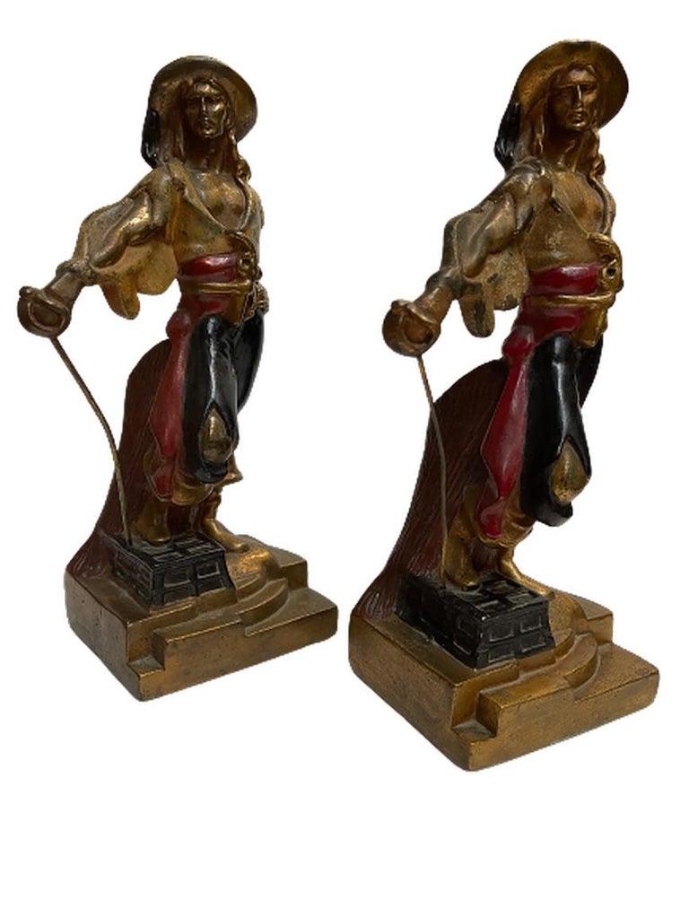 Artv Deco Era Buccaneer Bookends by Armor Bronze For Sale 4
