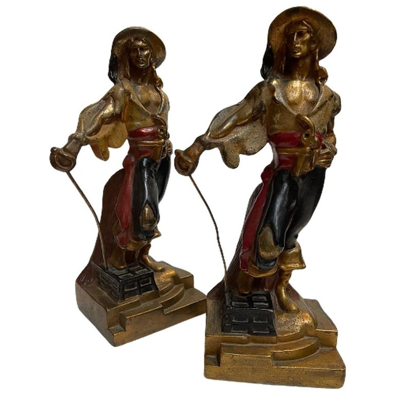 Artv Deco Era Buccaneer Bookends by Armor Bronze For Sale