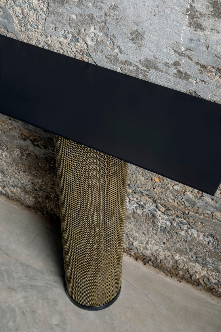 Contemporary Armor Console Table with Chainmail For Sale
