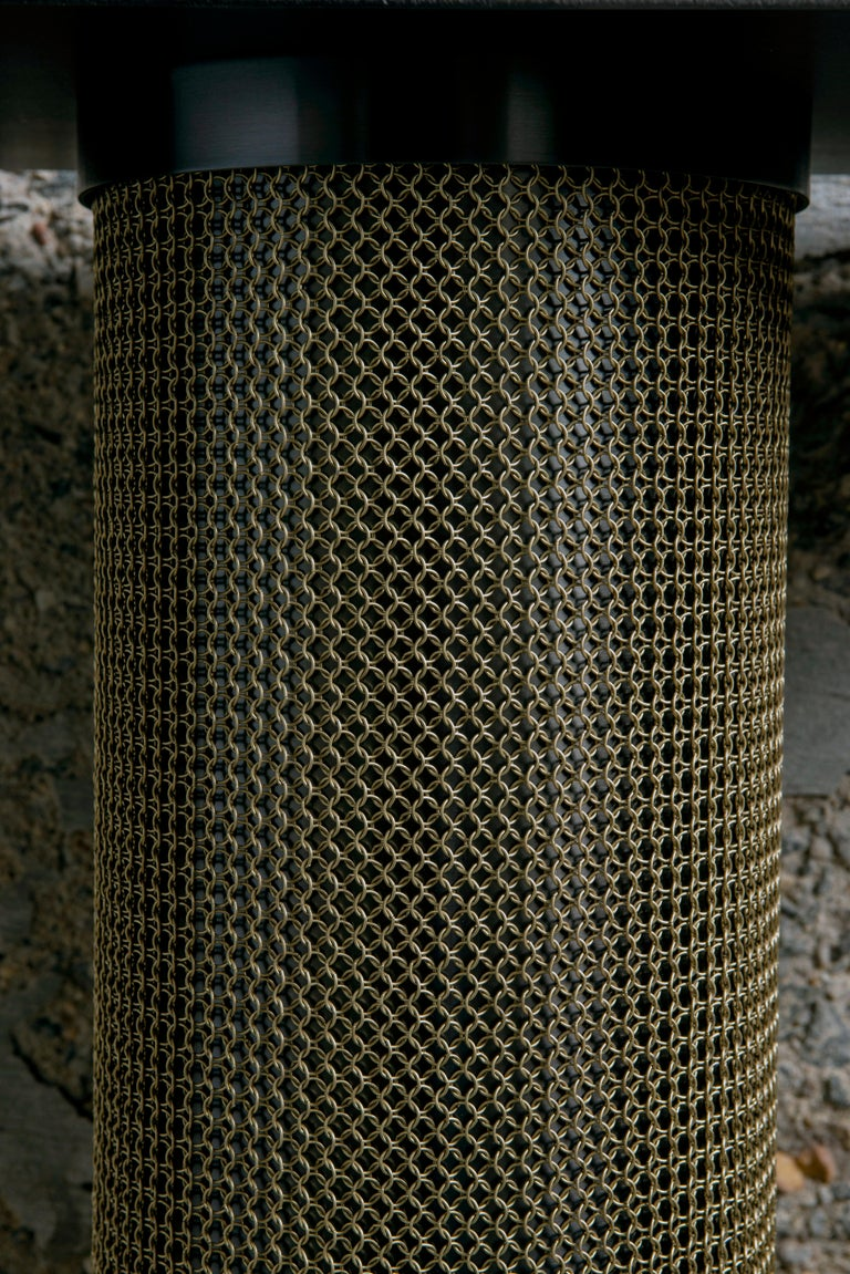 Steel Armor Console Table with Chainmail For Sale