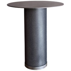 Armor Cylinder Side Table in Antique Nickel