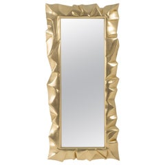 Armor Gold Leaf Mirror in Solid Mahogany Wood