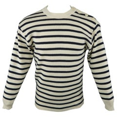 ARMOR-LUX Size M Cream & Navy Stripe Wool French Sailor Pullover Sweater