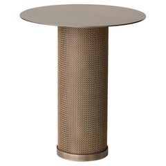 Armor Side Table Cylinder in Antique Brass and Satin Brass Chainmail
