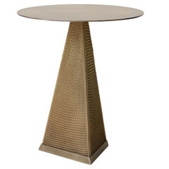 Armor Triangle Side Table in Antique Brass and Satin Brass Chainmail
