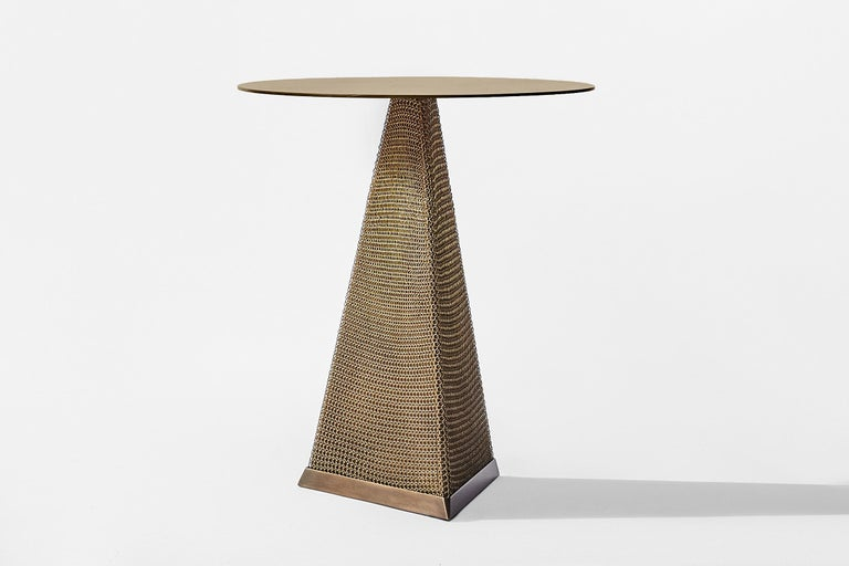 Armor Triangle Side Table in Satin Brass For Sale 6