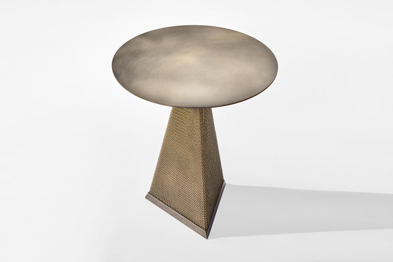 Armor Triangle Side Table in Satin Brass For Sale 7