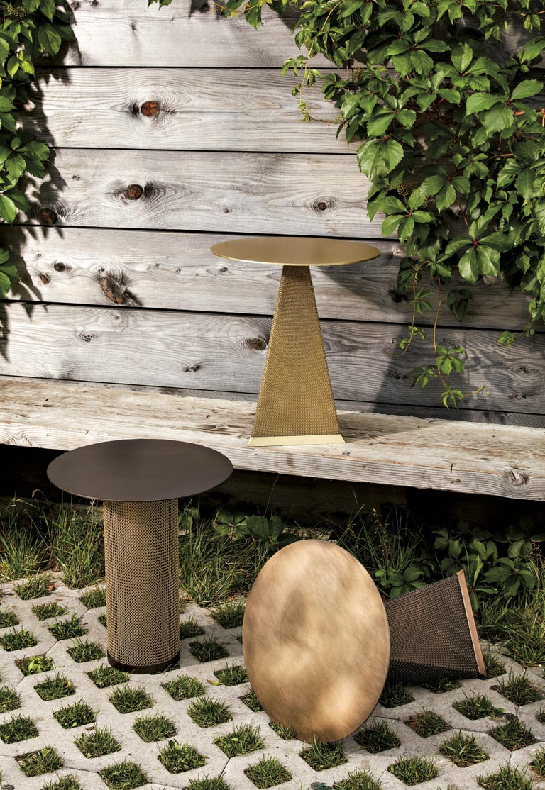 Contemporary Armor Triangle Side Table in Satin Brass For Sale