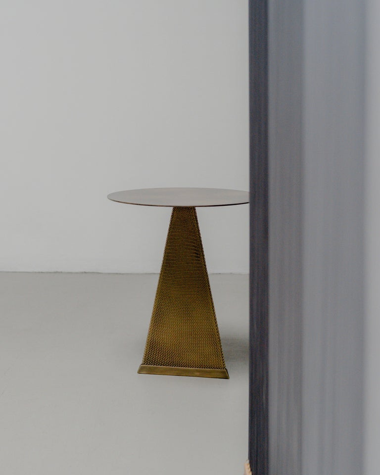 Armor Triangle Side Table in Satin Brass For Sale 8