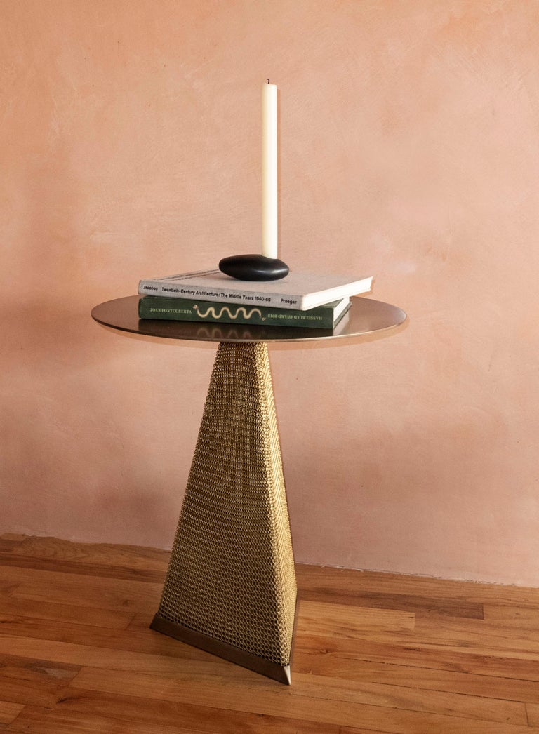 Armor Triangle Side Table in Satin Brass For Sale 9