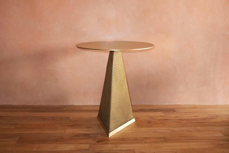 Armor Triangle Side Table in Satin Brass In New Condition For Sale In New York, NY