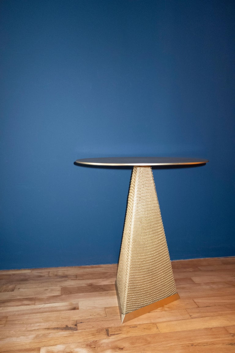 Armor Triangle Side Table in Satin Brass For Sale 1