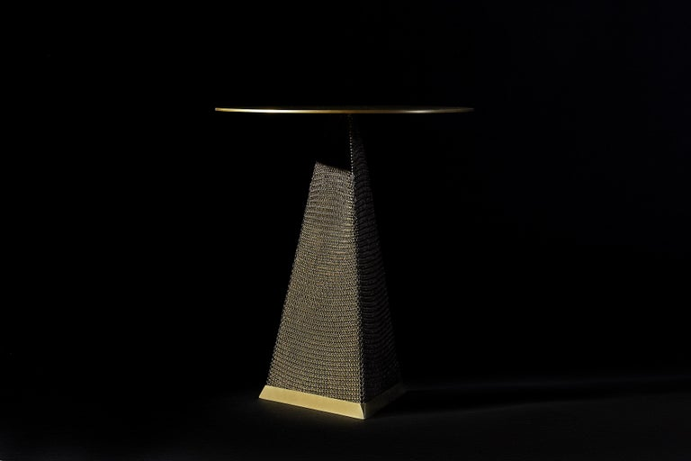 Armor Triangle Side Table in Satin Brass For Sale 5