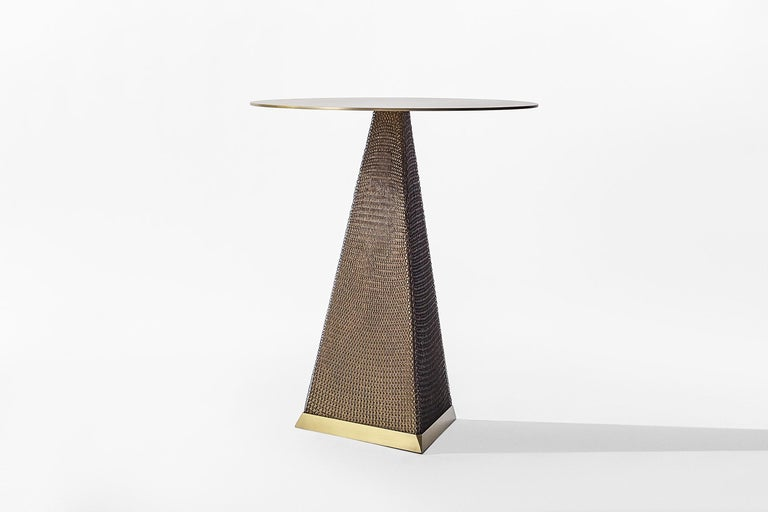 Armor Triangle Side Table in Satin Brass For Sale 2