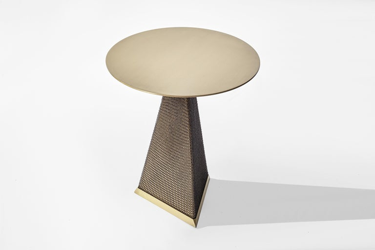 Armor Triangle Side Table in Satin Brass For Sale 3