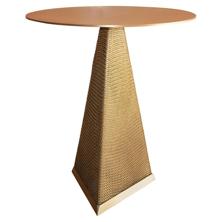 American Armor Triangle Side Table in Satin Brass For Sale