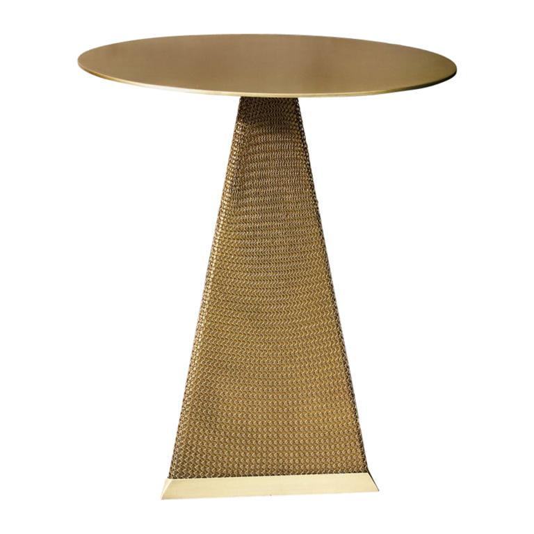 Armor Triangle Side Table in Satin Brass For Sale