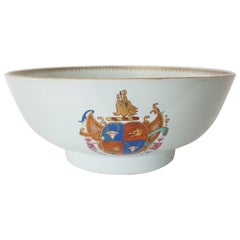 Armorial Chinese Export Porcelain Punch Bowl of Large Size Mackenzie, circa 1755