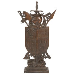 Armorial Fire Guard with Arms and Armor and Sword Poker