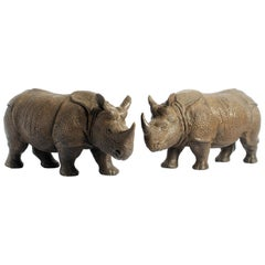 Armour Sculpture of Rhinoceros in Cast Bronze in a Pair by Elan Atelier