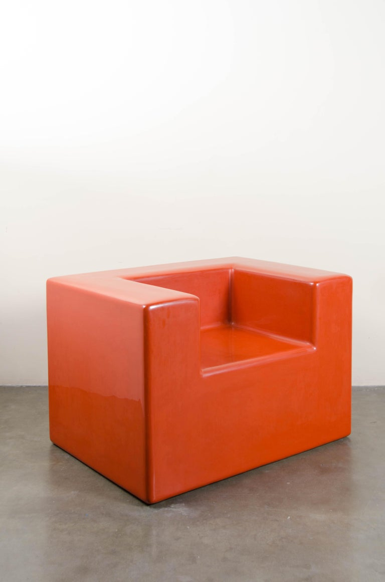 Contemporary Armrest Chair, Coral Lacquer by Robert Kuo, Hand Repoussé, Limited Edition For Sale