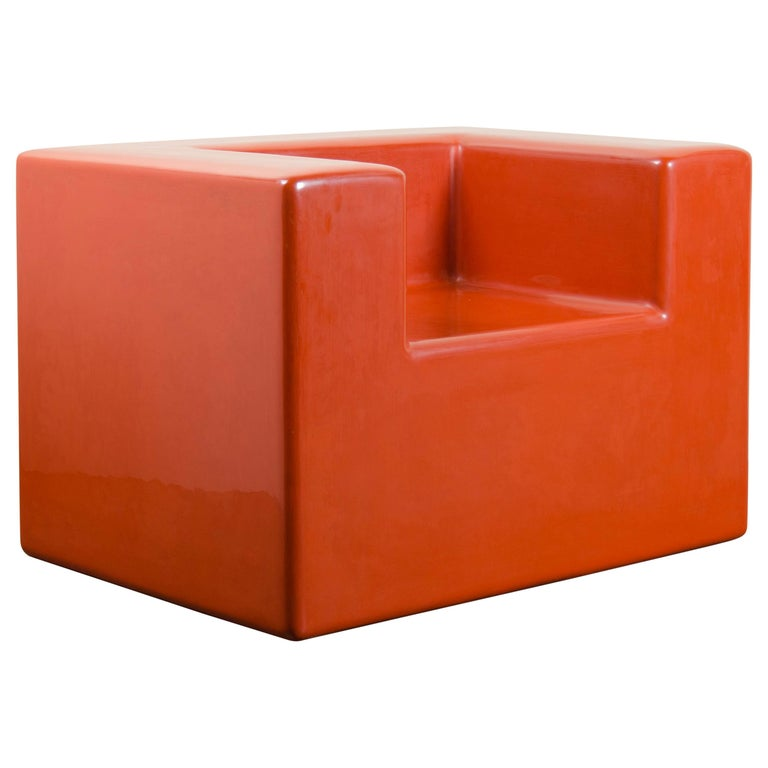Armrest Chair, Coral Lacquer by Robert Kuo, Hand Repoussé, Limited Edition For Sale
