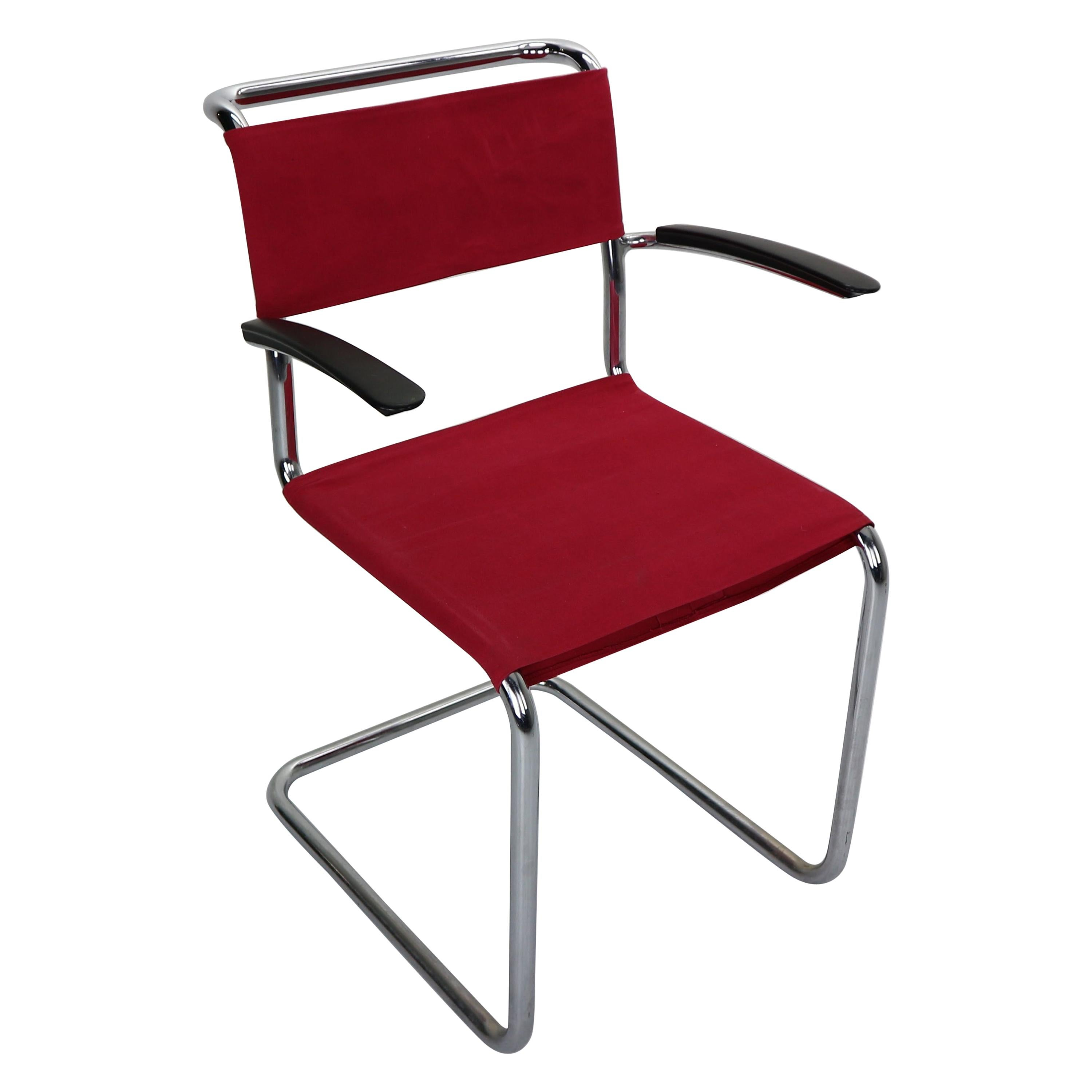 Armrest Chair in Red Canvas No-204 by W.H. Gispen, for Gispen Culemborg, 1930s