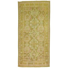 Army Green Pink Mustard Color Gallery Size Turkish Oushak Early 20th Century Rug