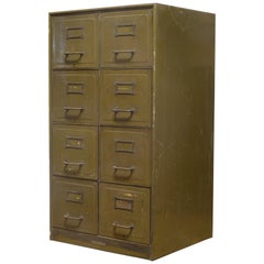 Army Green Steel Double File Cabinet, circa 1940s