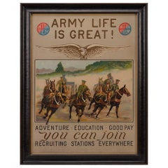 """""""Army Life is Great"""" Vintage Army Recruitment Poster by H. R. Davis"""