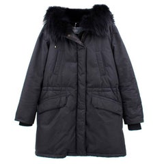 Yves Salomon Black Army Parka Coat