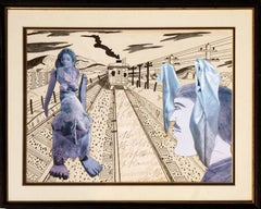 """""""Wrong Side of the Tracks"""" - Mixed Media Figurative Landscape Collage"""