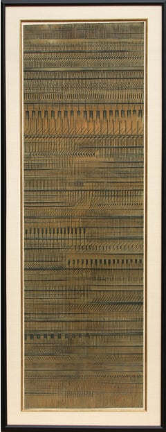 Tall Abstract Etching by Arnaldo Pomodoro