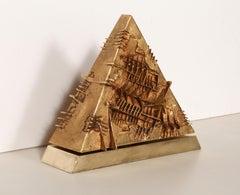 Triangolo, Rotating Modern Tabletop Sculpture by Arnaldo Pomodoro