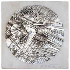 Arnaldo Pomodoro Silver Plated Disk Art Object 1972