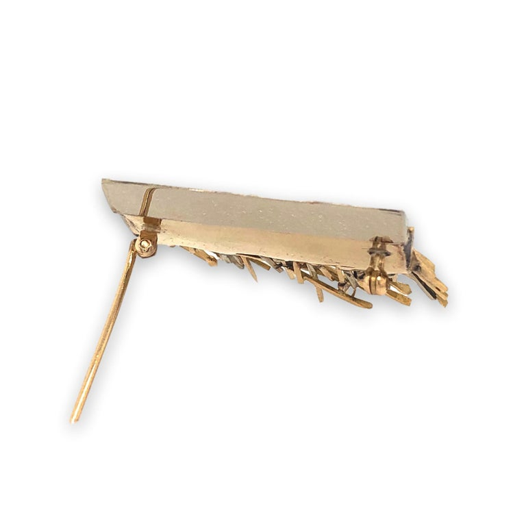 Women's or Men's Arnaldo Pomodoro Unique White and Yellow Gold Brooch, 1960 For Sale