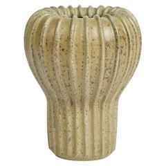 Arne Bang, Beige Ribbed Ceramic Vase, Denmark, 1930s