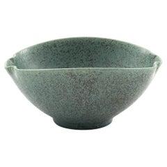 Arne Bang Bowl with Green Speckled Glaze, Denmark, 1950-1960