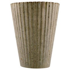 Arne Bang, Ceramic Vase in Fluted Style, Model Number 116